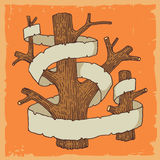 Illustrated trees with streamers. Tree trunks and limbs illustrated on orange background with blank banner or streamer with copy space Royalty Free Stock Photography