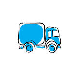 Illustrated truck icon, vector animated delivery car. Stock Image