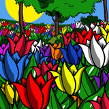 Illustrated tulip field Stock Photos