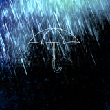 Illustrated umbrella on grunge dark background Royalty Free Stock Images