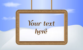 Illustrated vector background. Wood frame border. Place for your text vector illustration