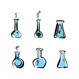 Illustrated vector beaker icons set, medical pictograms. Stock Images