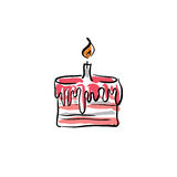 Illustrated vector birthday cake with cream Royalty Free Stock Image