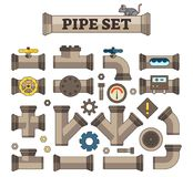 Illustrated Vector Pipe Set with various parts, joints and links. Good for gaming assets or infographics. Stock Photo