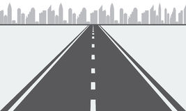 Illustrated vector Road to urban city Royalty Free Stock Image