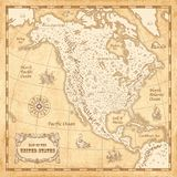 Illustrated Vintage North America Map Stock Photos