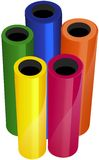 Illustrated Vinyl Rolls. Multicolored rolls of cutter vinyl or PVC (Polyvinyl chloride). Useful aid for advertising your product line if you use a similar vector illustration