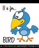 Illustrated vocabulary worksheet card with cartoon BIRD. For Children Education royalty free illustration