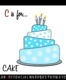 Illustrated vocabulary worksheet card with cartoon CAKE. For Children Education royalty free illustration
