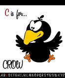 Illustrated vocabulary worksheet card with cartoon CROW Royalty Free Stock Photo