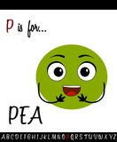 Illustrated vocabulary worksheet card with cartoon pea. For Children Education vector illustration