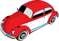 Illustrated VW beetle car. An illustration of an old, red, classic Volkswagen Beetle vehicle. White background Royalty Free Stock Photography