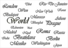 Illustrated wall with names of states  Royalty Free Stock Image