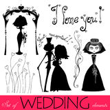 Illustrated wedding elements Royalty Free Stock Photo