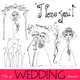 Illustrated wedding elements Stock Photos