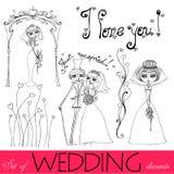 Illustrated wedding elements Stock Photos