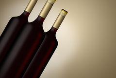 Illustrated wine Bottles Stock Photography