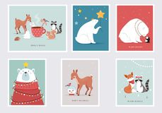 Free Illustrated Winter Forest Animals With Holiday Wishes For Greeting Cards Royalty Free Stock Photography - 159428557