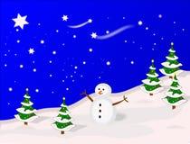 Illustrated Winter Scene stock illustration