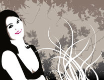 Illustrated woman and flowers Royalty Free Stock Photo