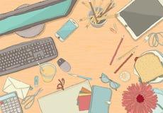 Illustrated workplace organization. Stock Photos