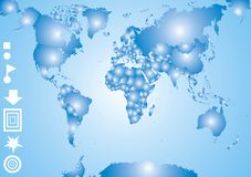 World map. Illustrated world map on the blue background Royalty Free Stock Images