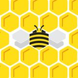 Honey comb hexagonal background with stylized bee royalty free stock images