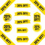 20% off sales tag illustration. Illustrated yellow tags with black text graphics 20% off on white Stock Photos
