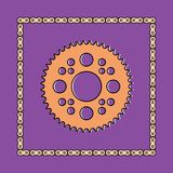 Set of sprocket wheel and chain icons Stock Photos