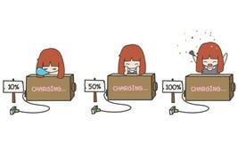 Illustrateur d'un chargement de batterie mignon Images libres de droits