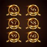 Illustrateur de luxe ENV de vecteur de l'anniversaire 55-60 d'insigne 10 illustration libre de droits
