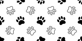 Illustrati обоев повторения предпосылки плитки мультфильма щенка котенка медведя кота следа ноги вектора картины лапки собаки без иллюстрация вектора