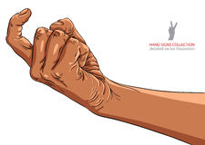 来临在手边标志,非洲种族,详细的传染媒介illustrati 免版税图库摄影