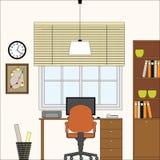 Illustrati interno del posto di lavoro dello studio dell'ufficio di vettore Immagini Stock Libere da Diritti