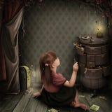 Illustratie aan het sprookje Alice in Sprookjesland Stock Foto