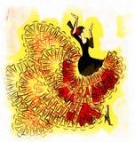 Illustratie abstract rood-geel flamenco Stock Fotografie