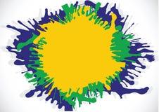 Illustratie Abstracte achtergrondvormwaterverf in de kleur van Brazilië Stock Afbeeldingen