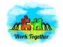 Illustratie Bedrijfsconcept groepswerk met puzzel het werk samen vector illustratie
