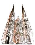 Illustratie bekende St Patrick ` s Kathedraal wereldwijd vector illustratie
