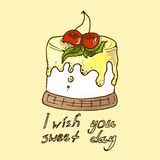 Illustratie Cake met kersen pastei Ik wens u zoete dag Stock Afbeelding