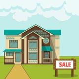 Illustratie, concept - plattelandshuisje voor verkoop Vlakke stijl vector illustratie