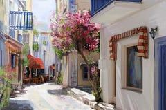 Illustratie de Griekse stad stock fotografie