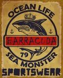 Illustratie die gevaarlijke haai trekken Vector illustratie Stock Afbeeldingen