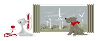 Illustratie die van bureauventilator een hondengezicht blazen Buiten, drijft de wind een windlandbouwbedrijf aan en buigt bomen royalty-vrije illustratie