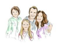 Illustratie die van familie moeder en vader en kinderen kenmerken Royalty-vrije Stock Afbeeldingen
