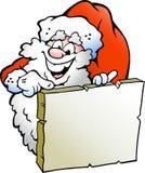 Illustratie die van Gelukkige Kerstman aan een teken richt Stock Fotografie
