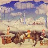 Illustratie die van Jonge geitjes in een fantastisch Laboratorium spelen Royalty-vrije Stock Afbeelding