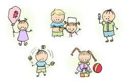 Illustratie die van Jonge geitjes met Balballon spelen Stock Foto's