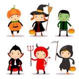 Illustratie die van leuke jonge geitjes Halloween-kostuums dragen Stock Foto's