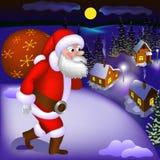 Illustratie die van Santa Claus met giften aan de sneeuwstad komen Stock Afbeeldingen